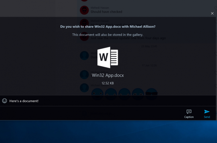 GroupMe gets document sharing on Windows 10 18