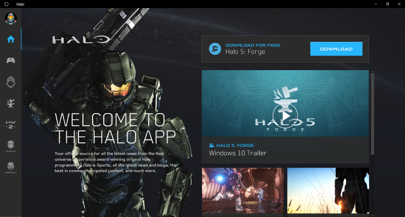 The home screen for the Halo app, which currently shows off everything you need to know about Halo 5: Forge