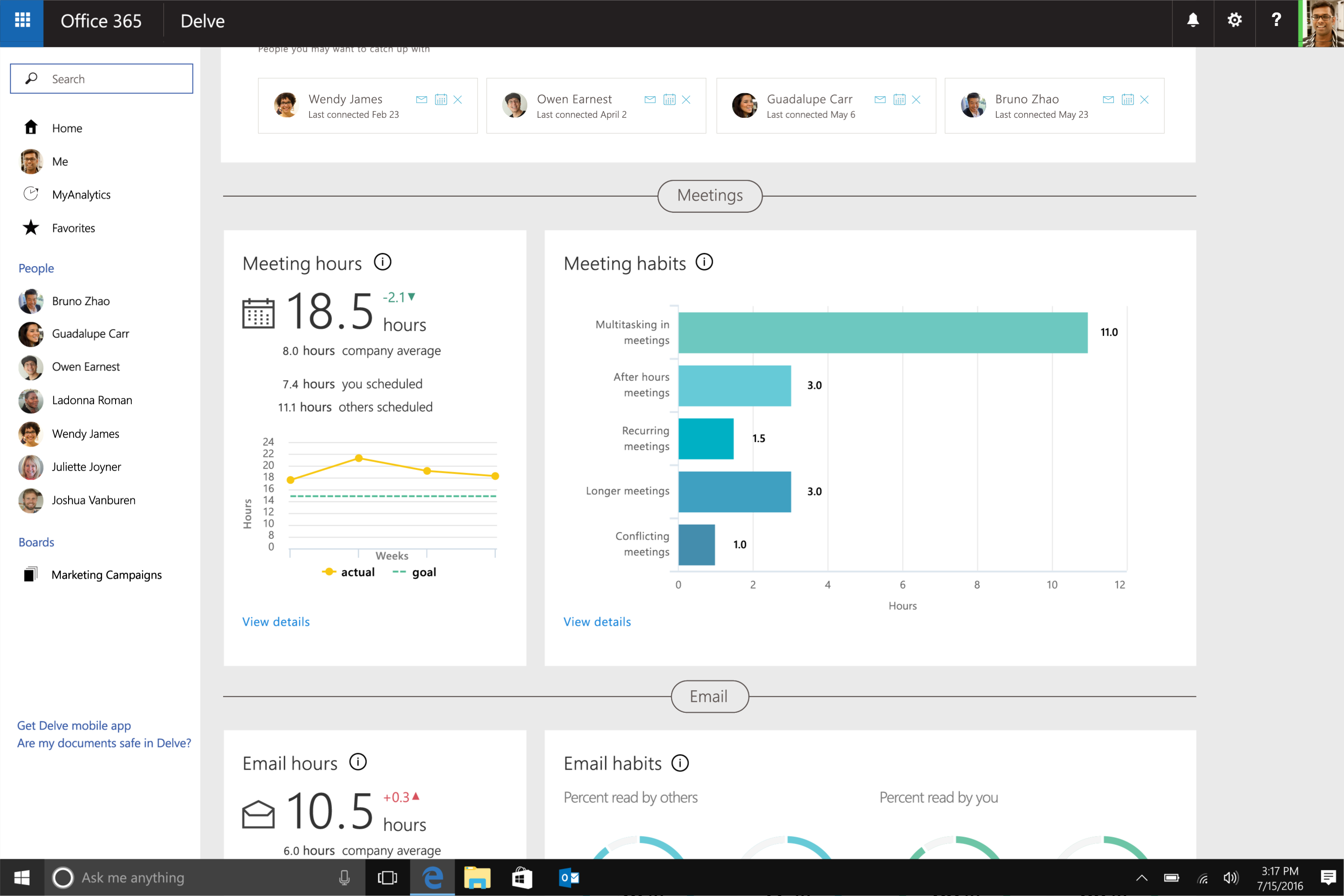 microsoft renames delve analytics to myanalytics