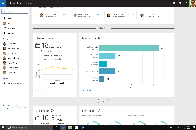 Microsoft renames Delve Analytics to MyAnalytics, announces new