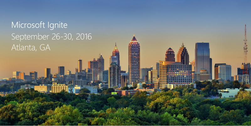 Microsoft Ignite 2016 is located in Atlanta, GA
