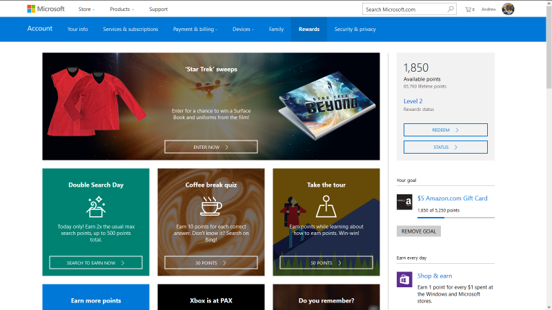 The Microsoft Rewards dashboard