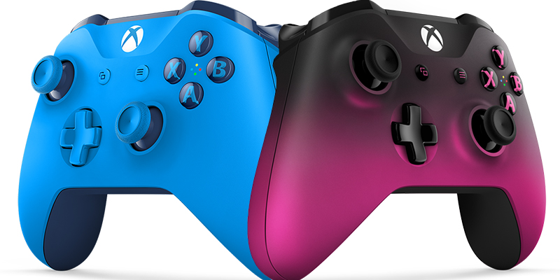 The Wireless Controller Blue (on the left) and the Dawn Shadow Special Edition (on the right)