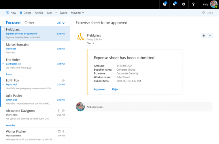 Microsoft announces Actionable Messages in Outlook on the web 21