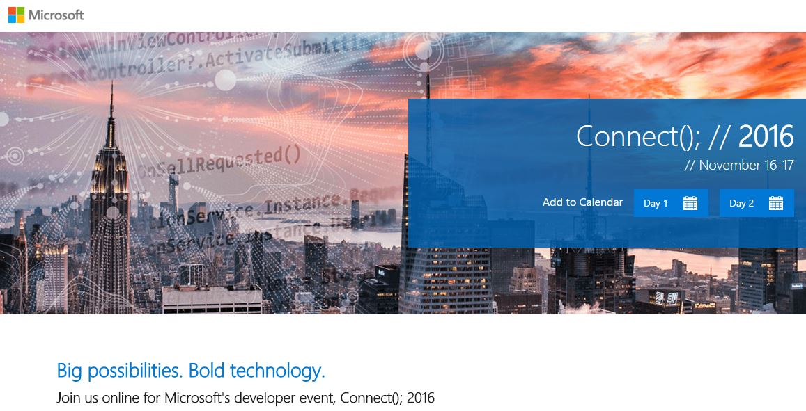 microsoft connect 2016 event