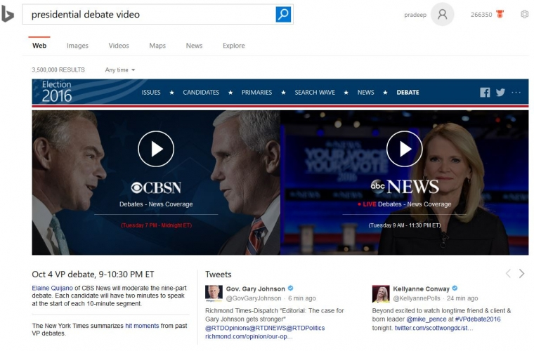 Microsoft Bing will allow you to live stream the vice presidential debate later today 13