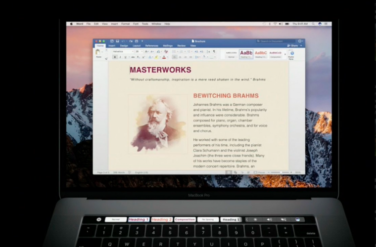 Microsoft is bringing support for Touch Bar on the new MacBook Pro to its Office apps 15