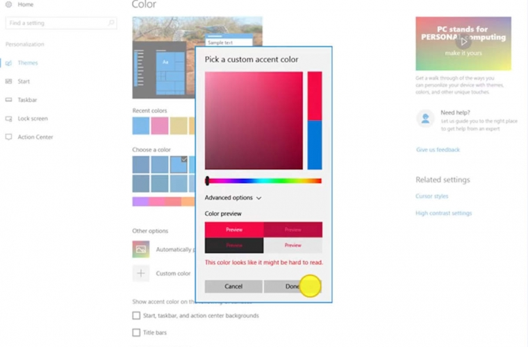 Windows 10 Creators Update is likely to bring a custom accent colour picker 11