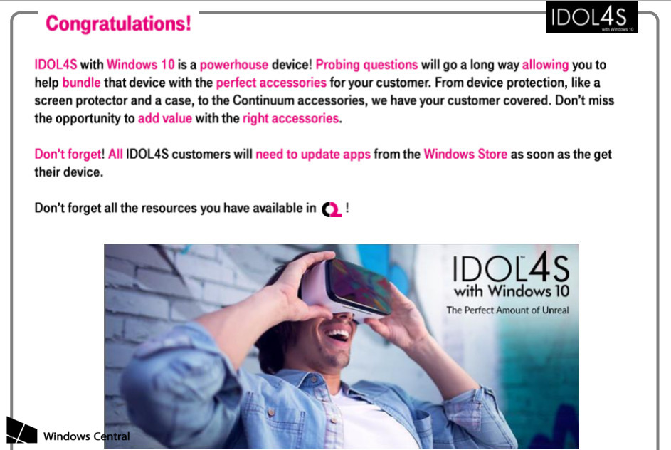 T-Mobile Alcatel Idol Pro 4S training guide leaks - MSPoweruser
