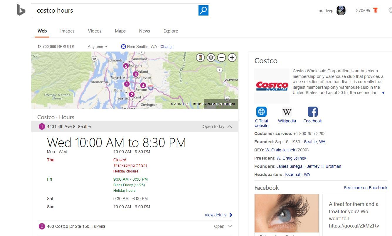 Microsoft Bing Now Offers Hours Of Operation For Local Businesses In
