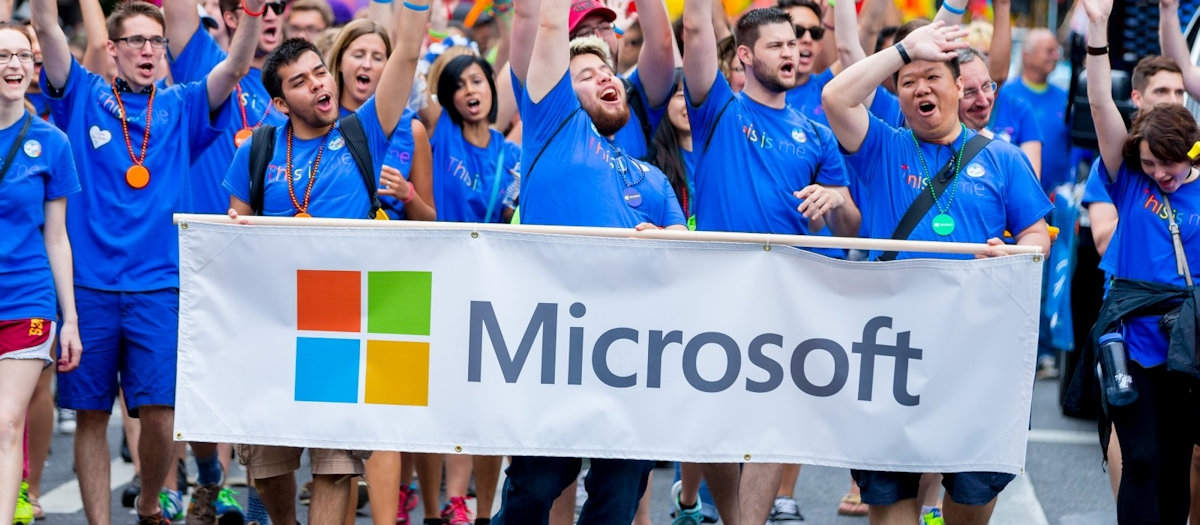 Microsoft Employees at a Pride parade