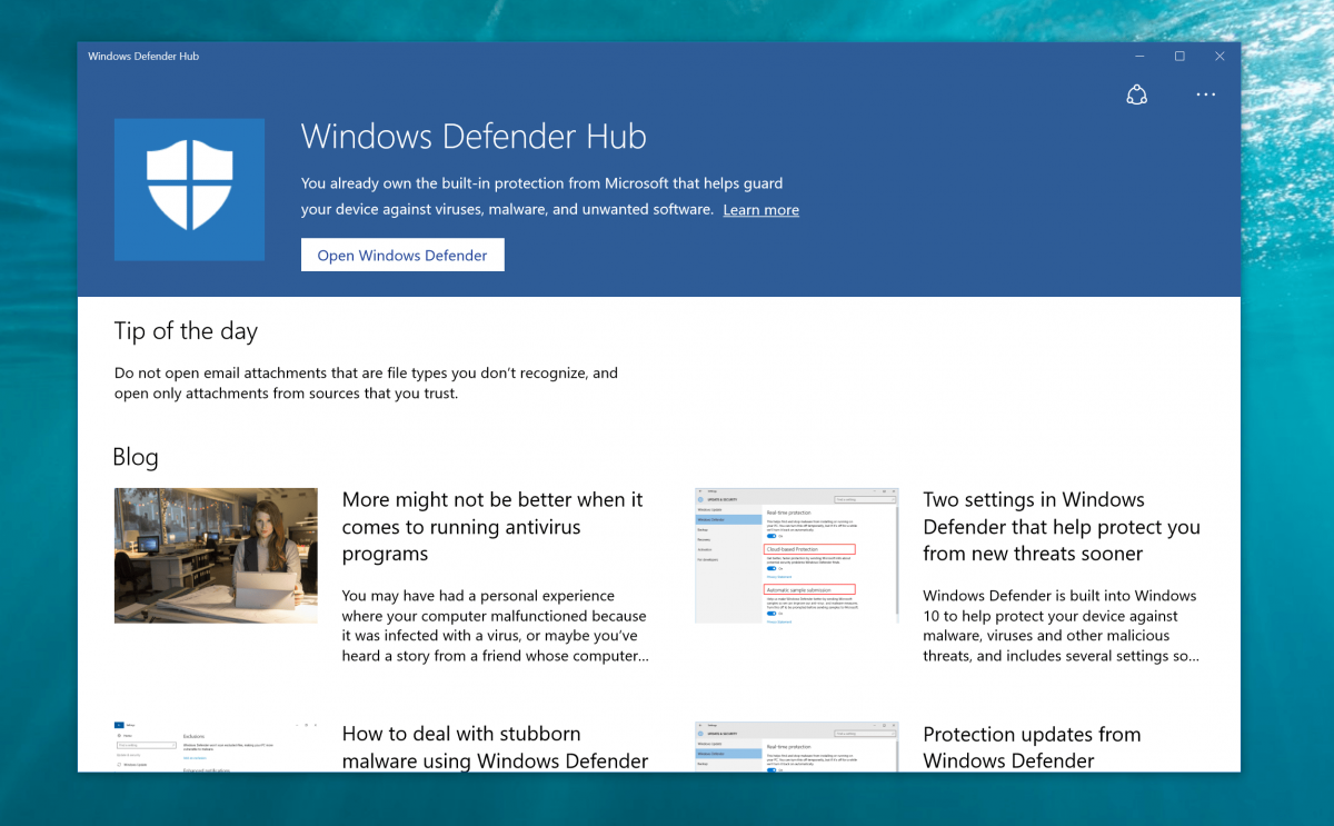 Windows 10's Defender Hub app shows up on the Windows Store