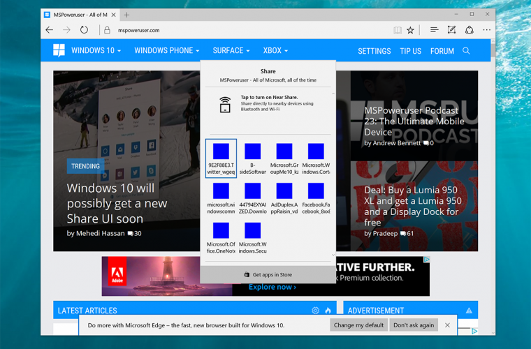 Here's how to enable the new Share UI in Windows 10 (Insiders only) 3