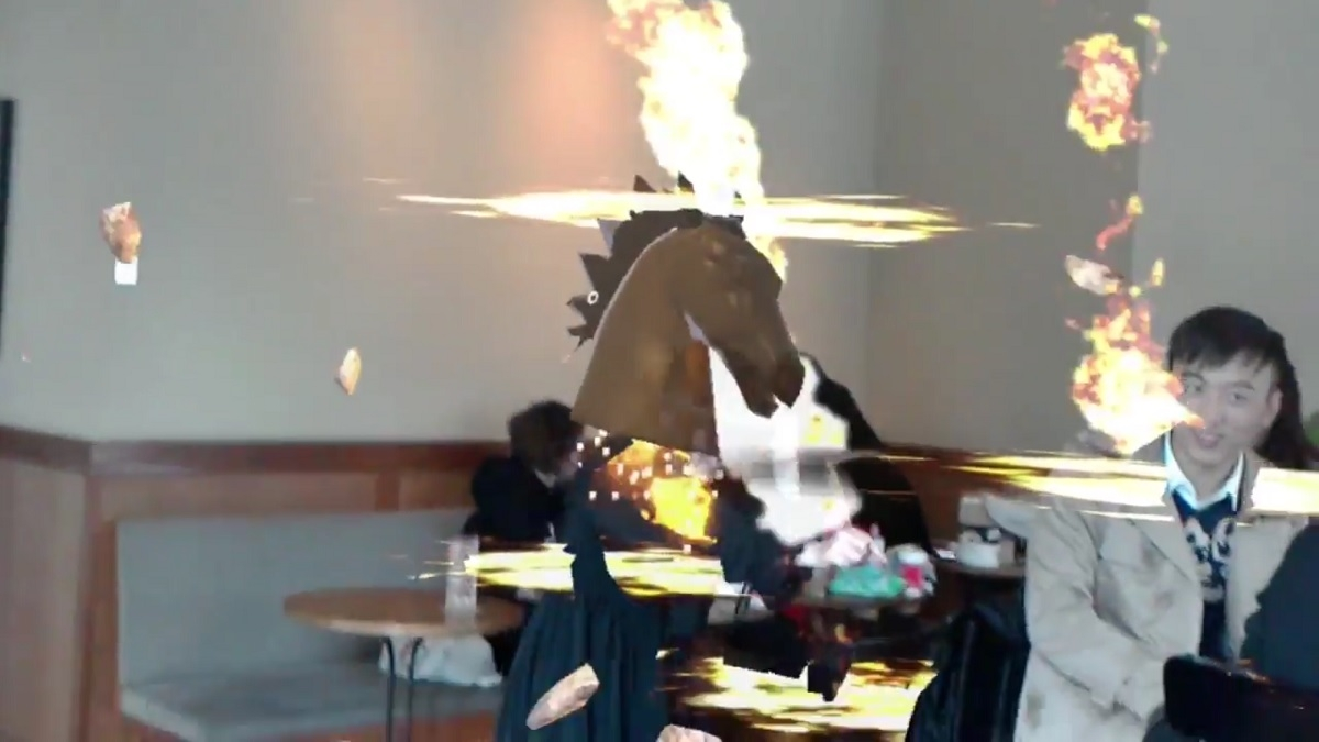 Watch A Mixed Reality Anime Dual Using 3 HoloLens Headsets In Coffee Shop