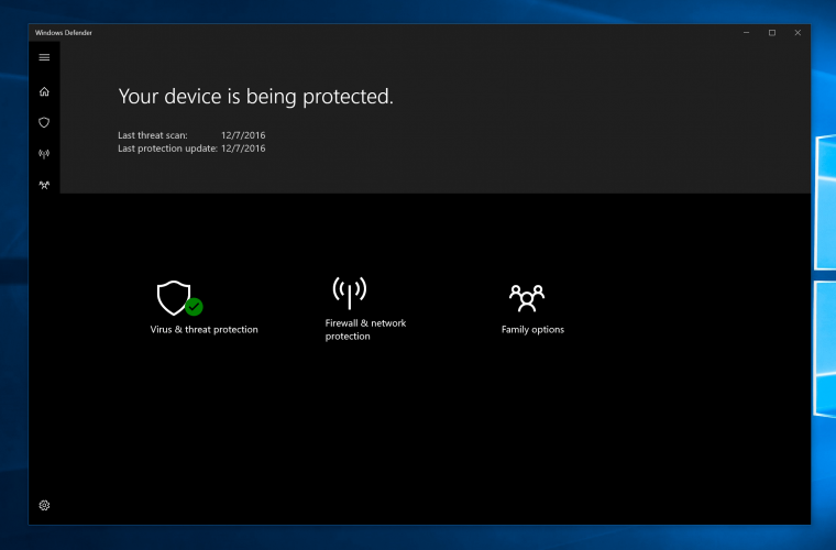 Microsoft provides a closer look at Windows 10's upcoming Windows Defender Security Center app 1