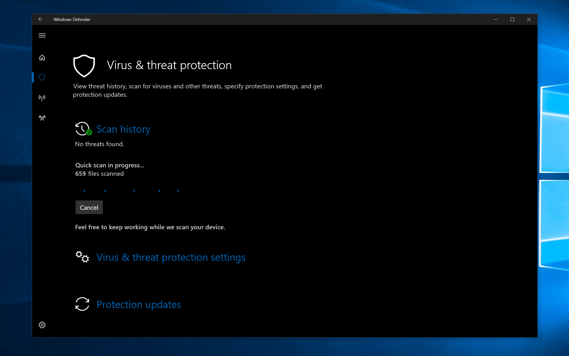 This is the new windows defender app coming with windows for Window defender update