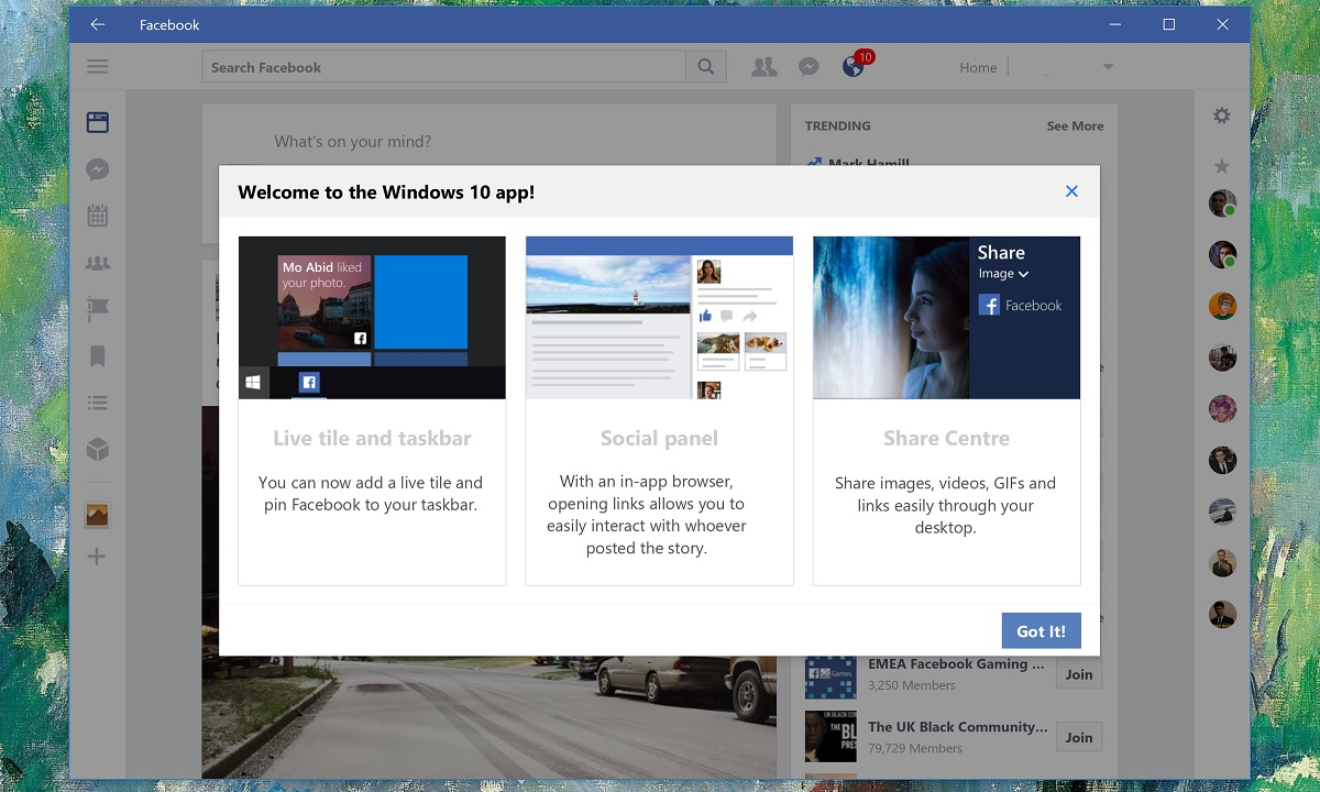 Facebook Beta for Windows 10 updated with new welcome screen