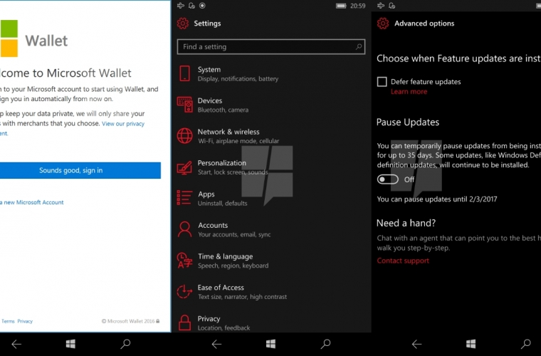 Coming to Windows 10 Mobile in early 2017: Web Payments, improvements to Edge, Settings, Windows Update, and more 3