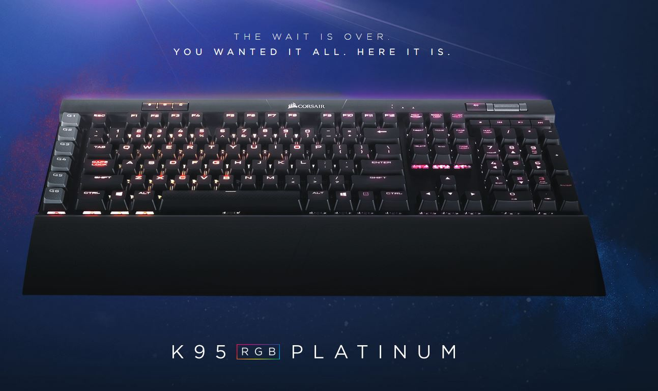 Corsair K95 RGB Platinum mechanical keyboard now available