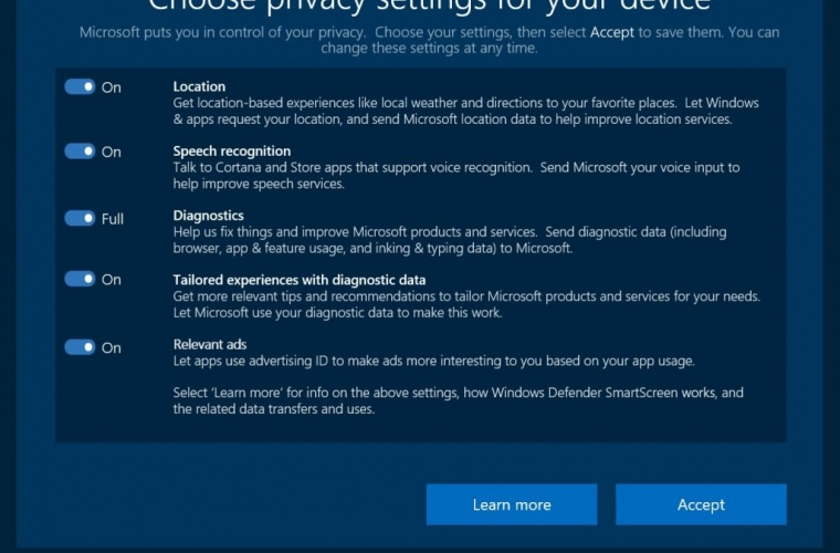Swiss Data Privacy authorities satisfied by Microsoft's Windows 10 Creators Update's new privacy controls 19