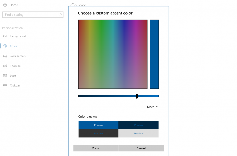 You can now set any color as the accent in Windows 10 if you are an Insider 13