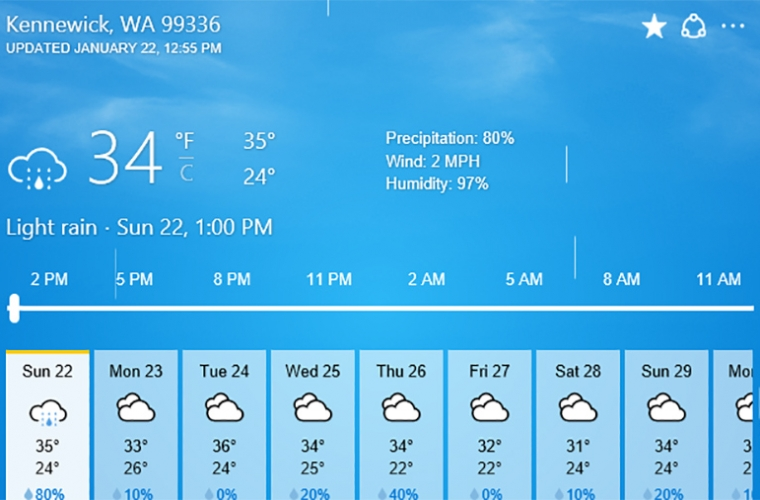 Bing is testing a new design for its Weather widget 2
