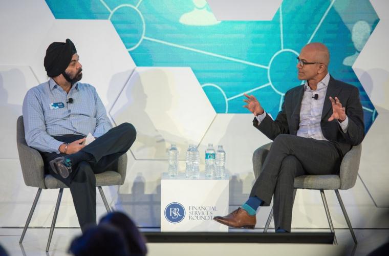 Microsoft CEO Satya Nadella spoke at the FinTech Ideas Festival 16