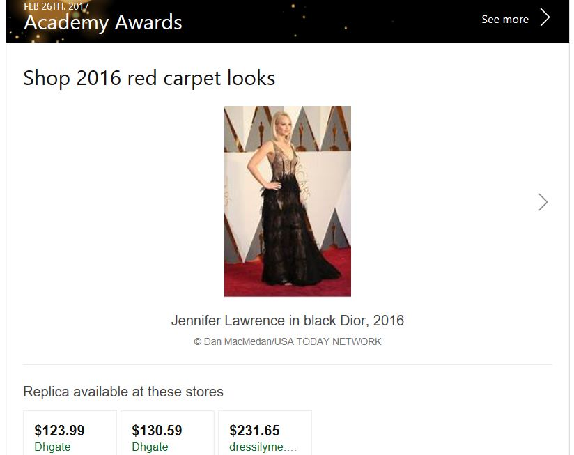 You can now shop red carpet looks from Bing search results 1