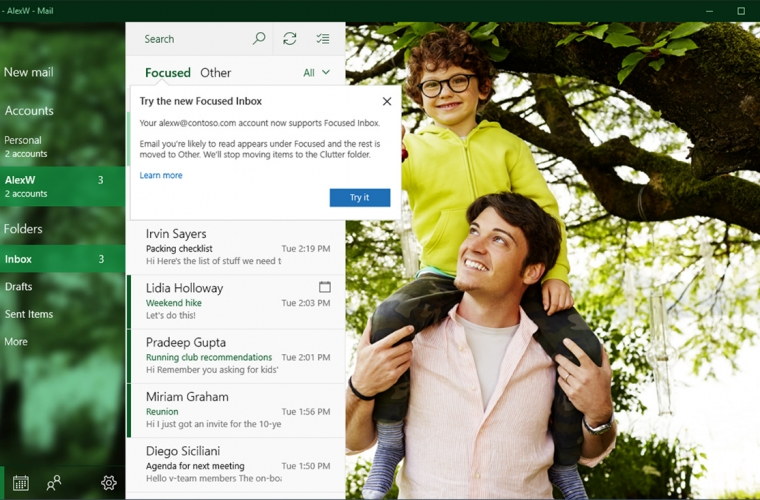 Windows 10's mail app gets Focused Inbox, Mentions, and more 8