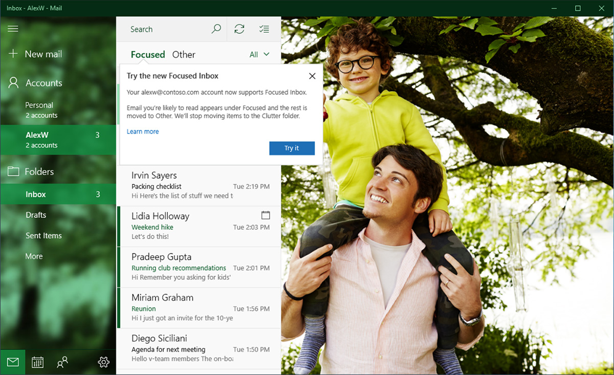 Windows 10's mail app gets Focused Inbox, Mentions, and more 1