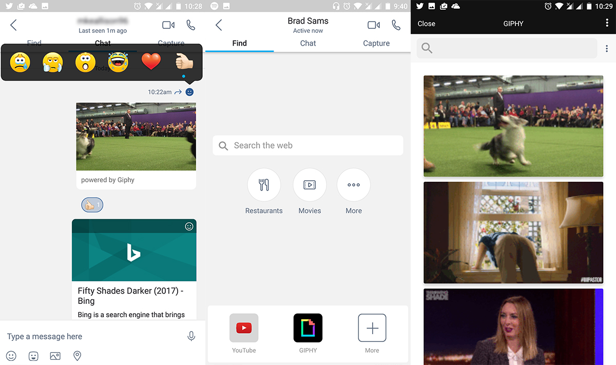 Skype is testing a new Android app with a new design, reaction feature, and Bing integration 3