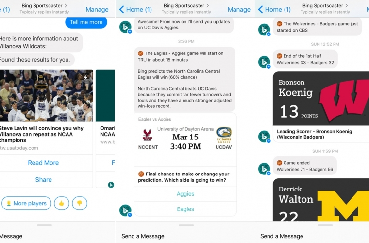 Microsoft Bing launches new Sportscaster bot on Facebook Messenger 12