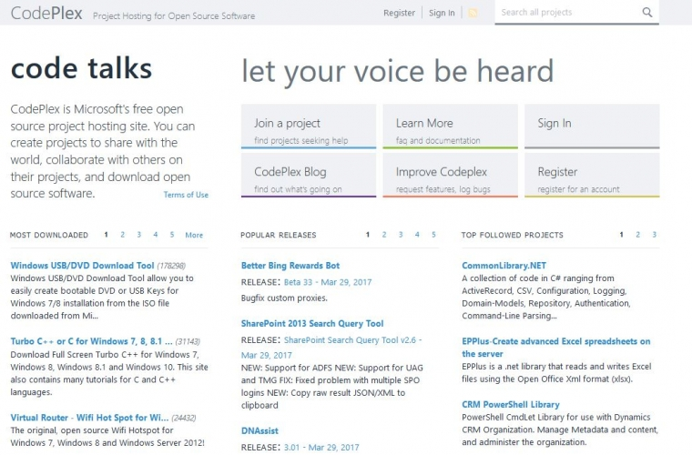 Microsoft is shutting down CodePlex, its open source project hosting web site 1
