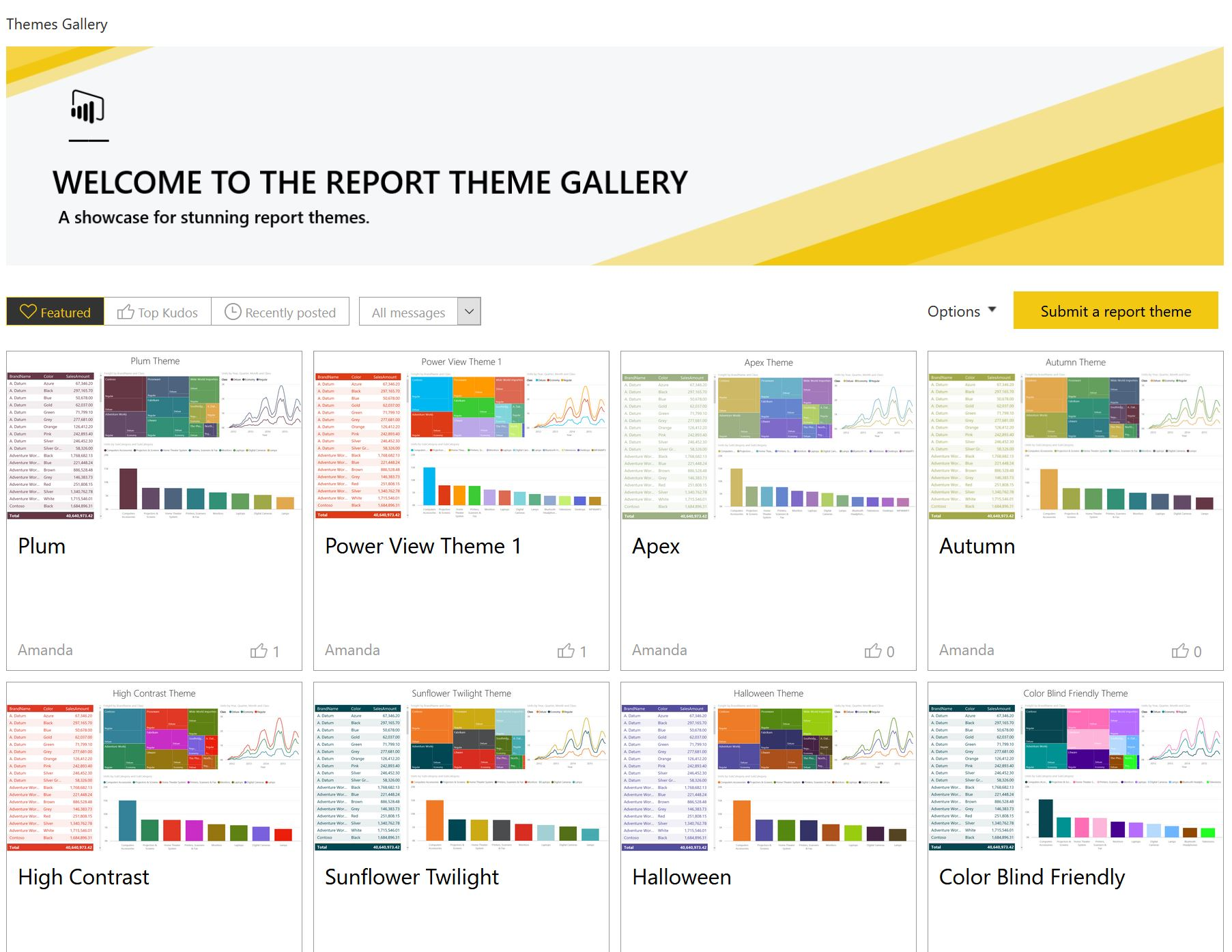 microsoft launches new theme gallery in the power bi community