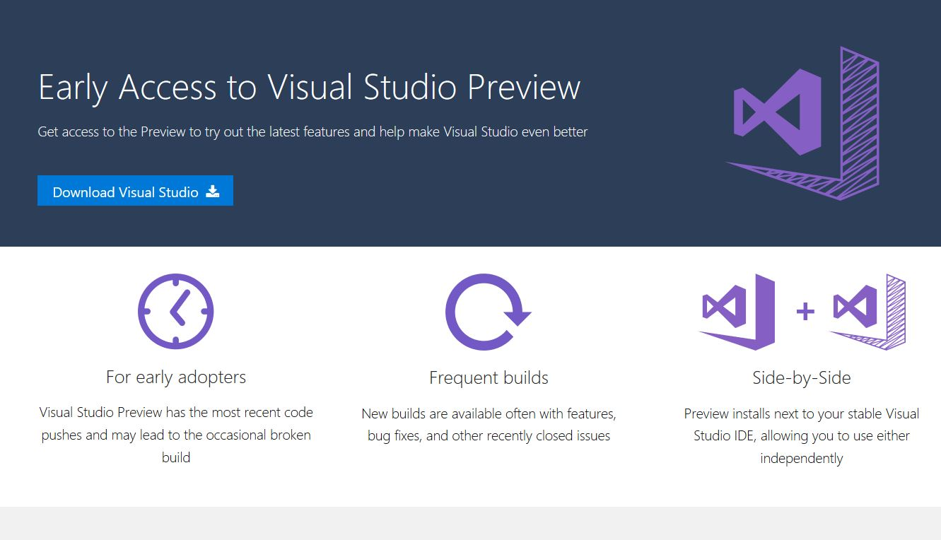 Microsoft launches Visual Studio Preview program 1