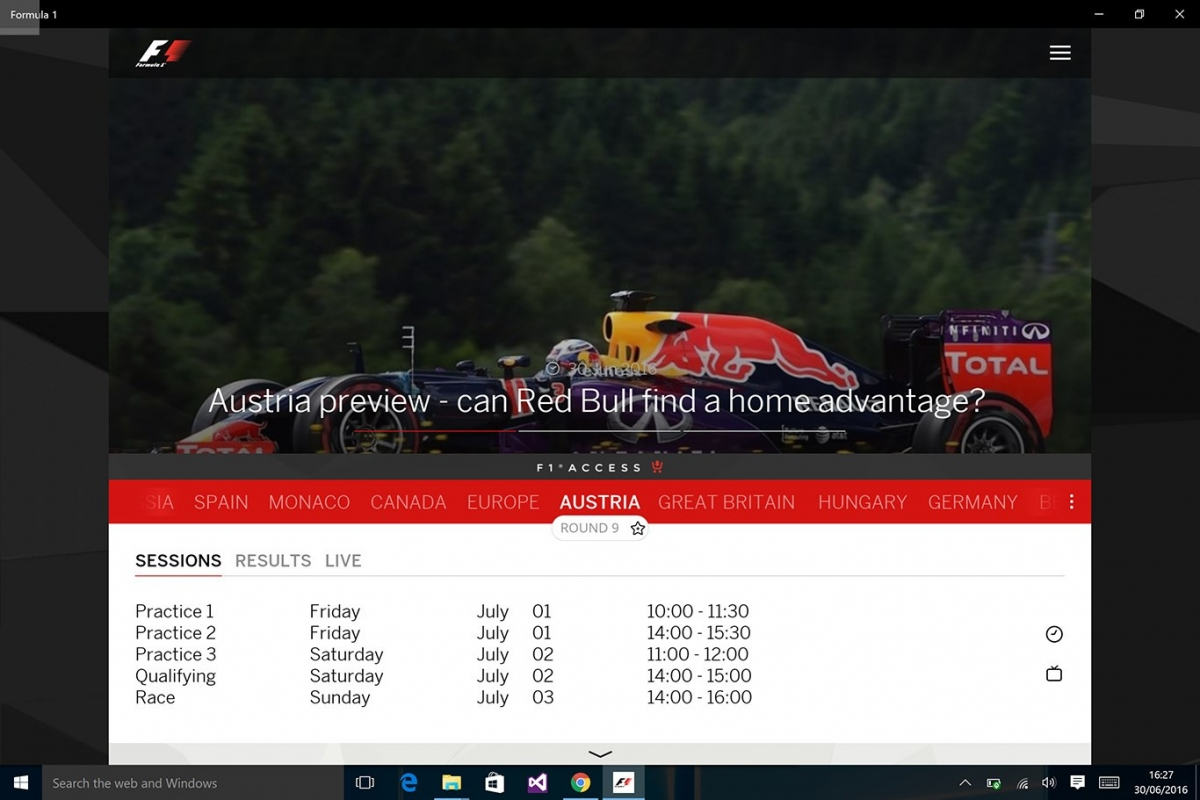 Official Formula 1 app for Windows and Windows Phone updated for 2017 season 1
