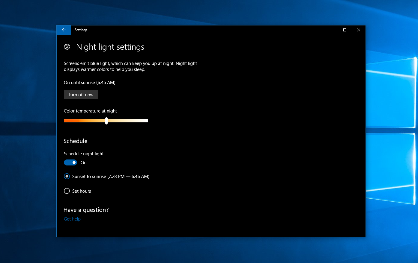 Tip: Enable the new night mode in Windows 10 - MSPoweruser