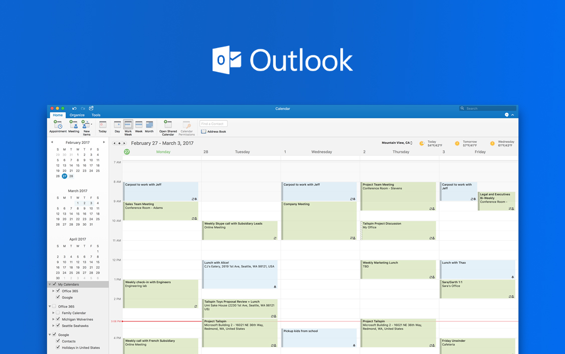 Интеграция с календарем outlook
