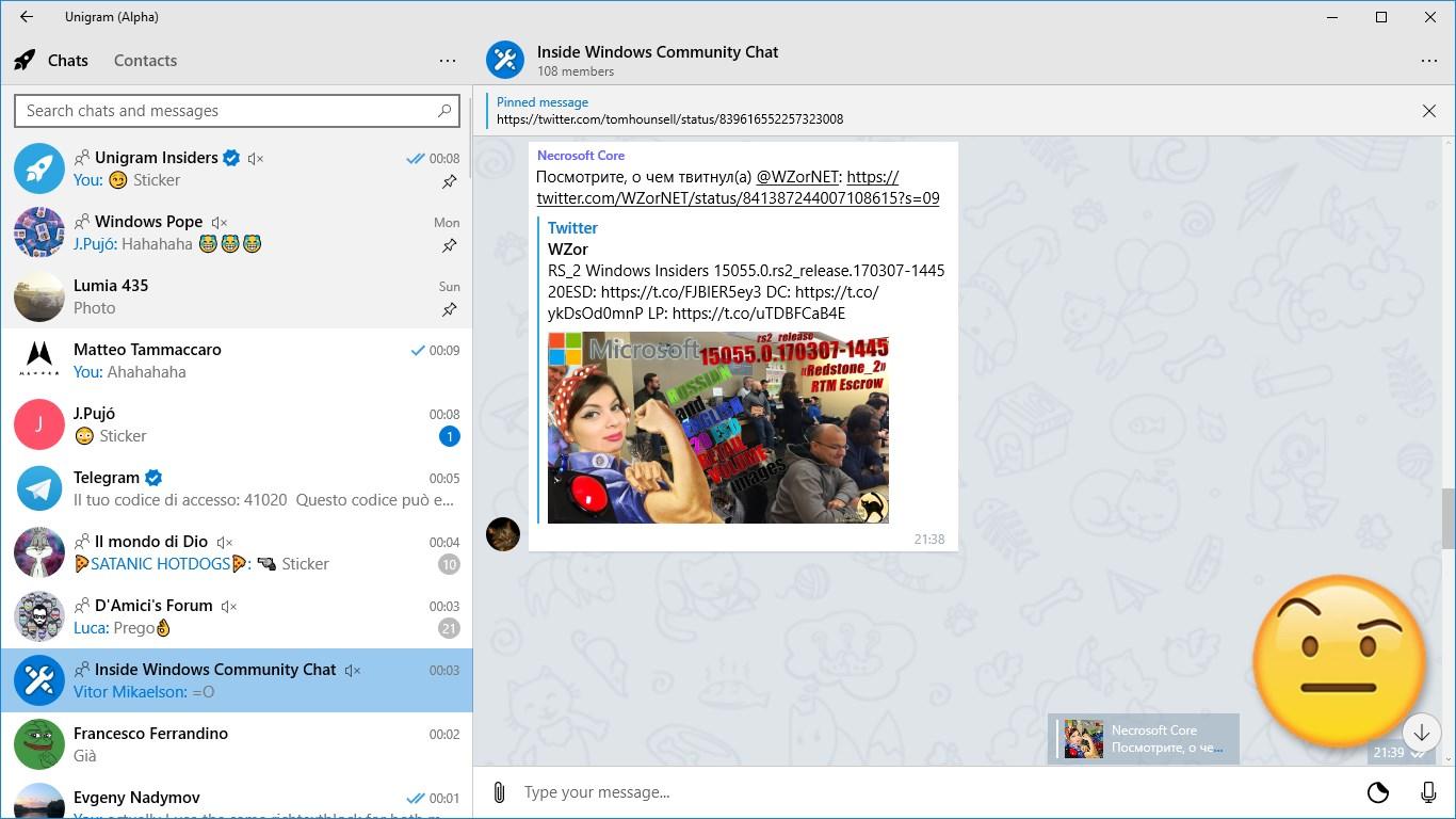 Unigram UWP Telegram client for Windows updated with chat