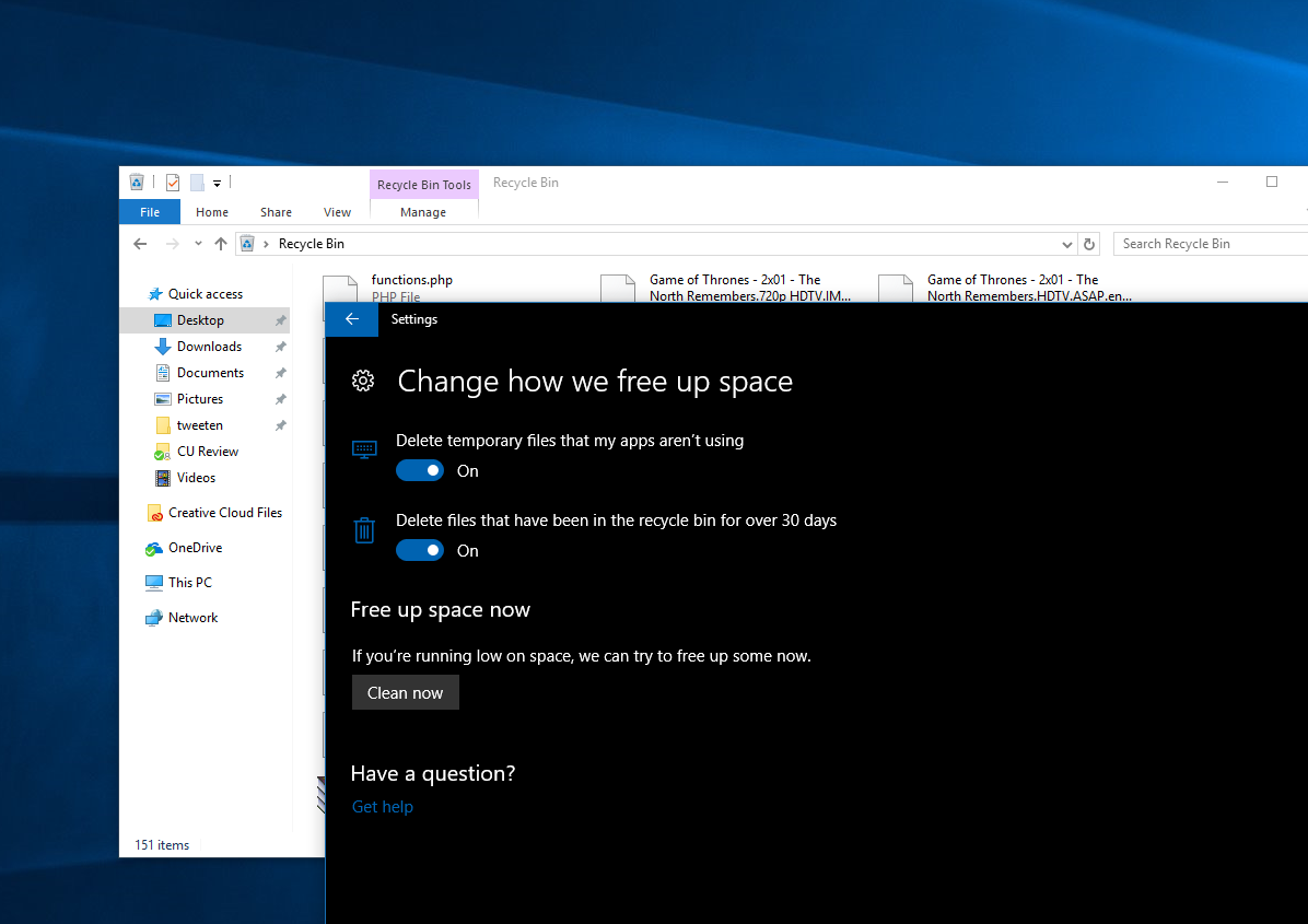 Tip: Enable auto Recycle Bin cleaning to save space in the Windows 10 Creators Update 1