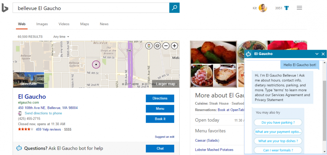 Bing Will Use Chatbots Ed By Skype For Restaurant