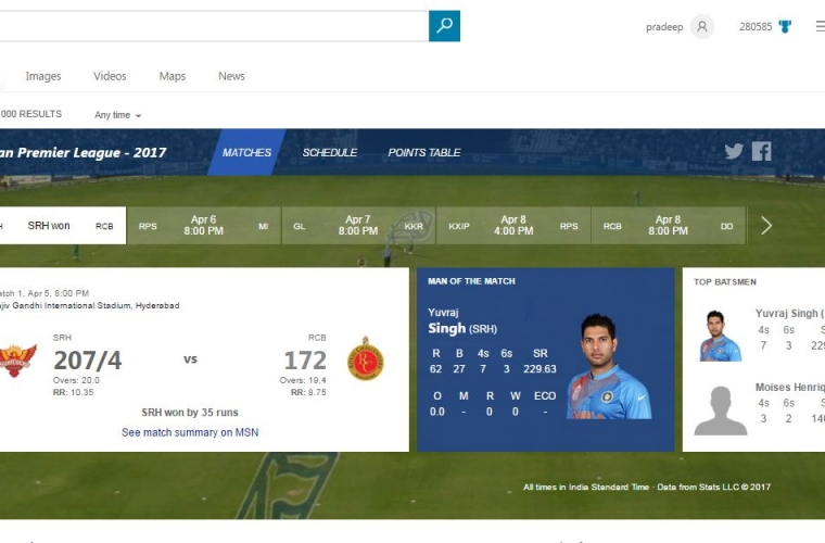 Microsoft Bing launches new search experience for 2017 IPL season 1