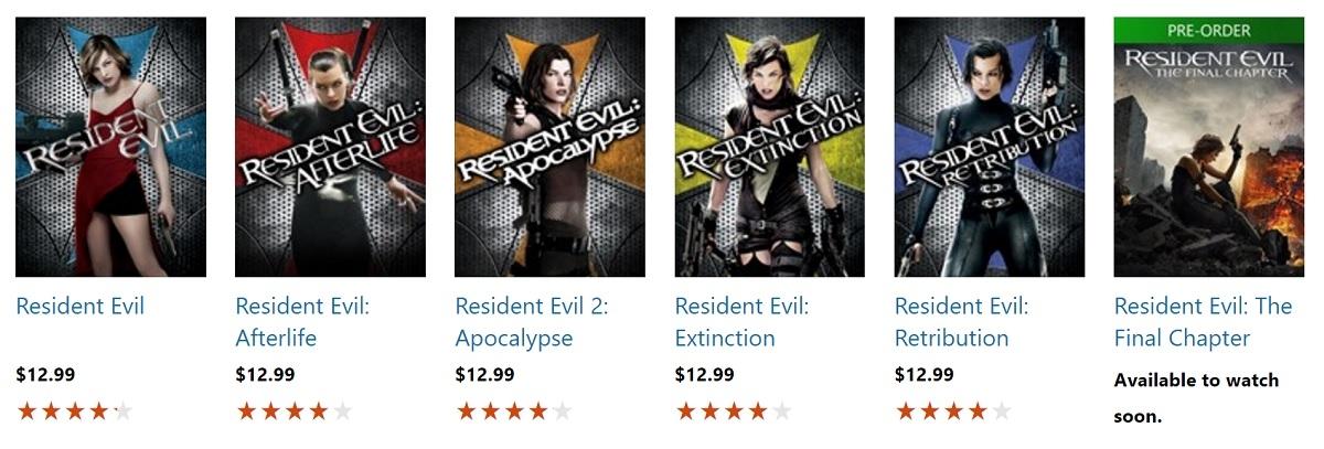 resident evil movies order