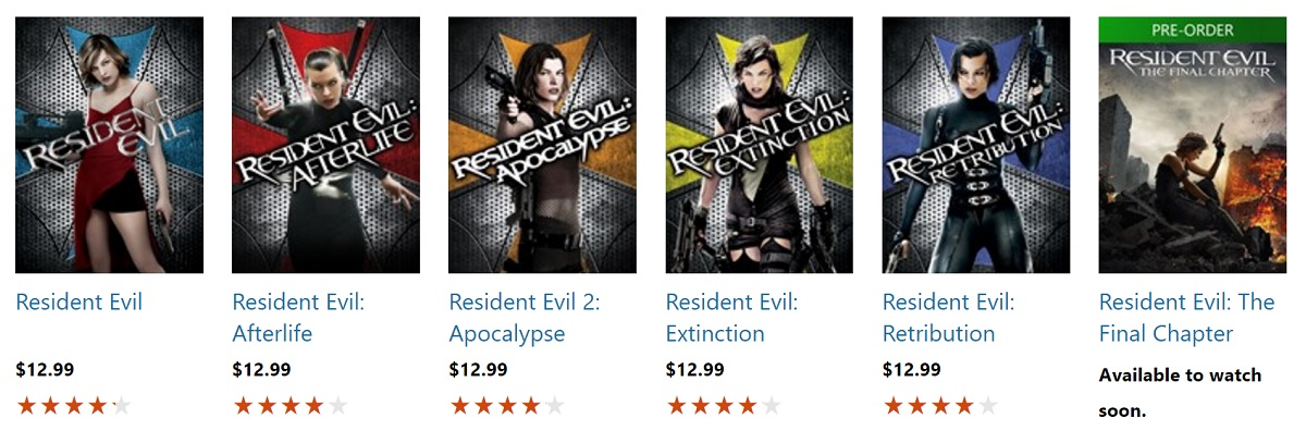 Deal Buy All 6 Resident Evil Movies Including The Final Chapter