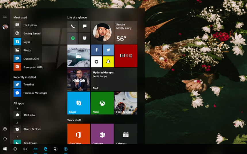 Windows 10's Start Menu is getting transparent tiles with Project NEON in Redstone 3 1