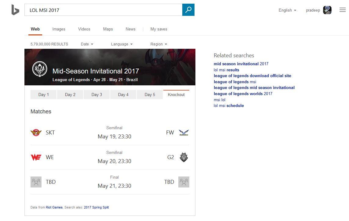 Microsoft Bing Will Now Display Information On ESports