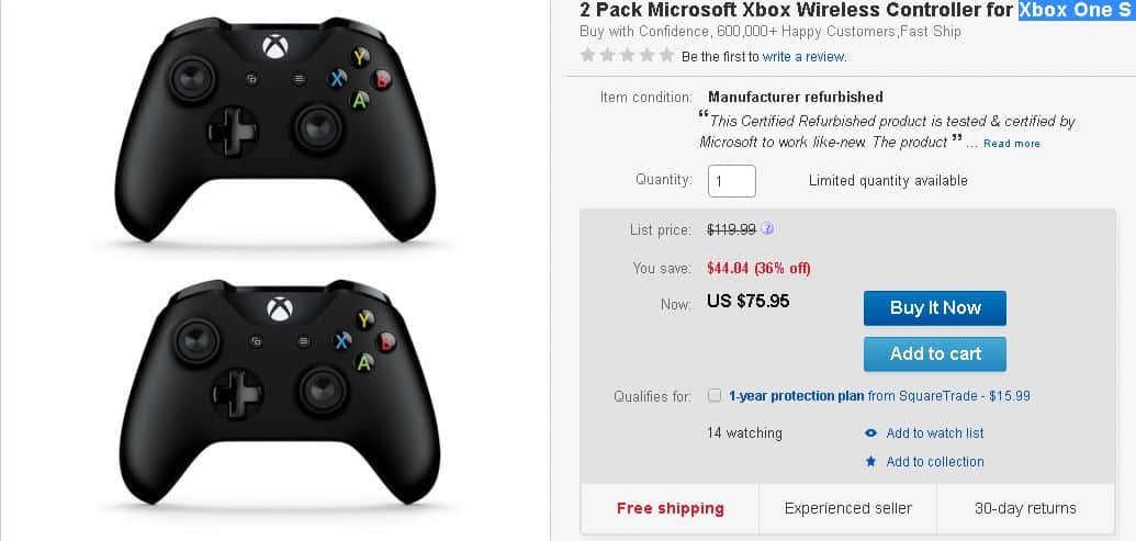 Deal Alert: 2 Xbox One S (Windows 10) Wireless Controllers on sale ...