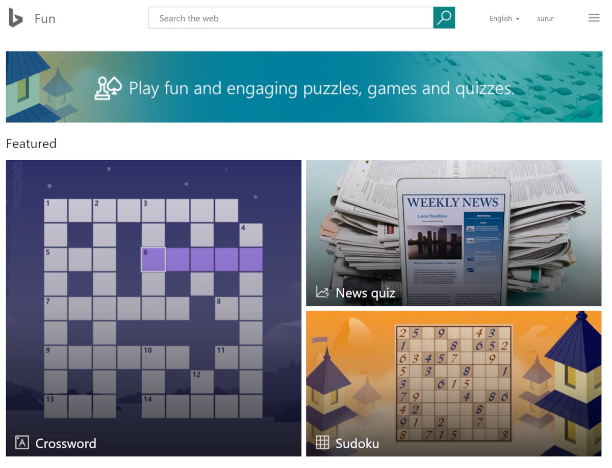 Bing Fun & Games mini-games now offer lunch time ...