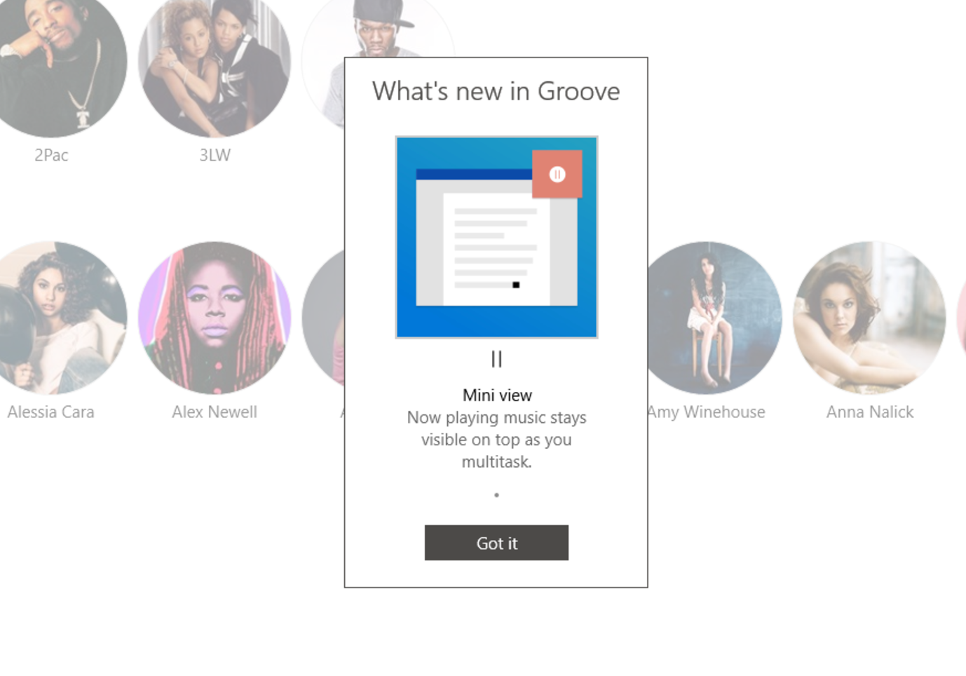 Groove Music is getting a new mini-player in Windows 10 1