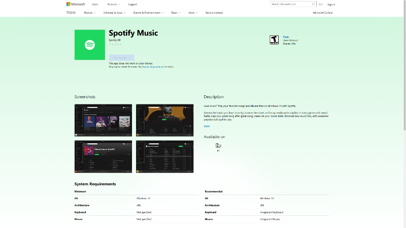 Spotify's desktop app appears in the Windows Store, but you